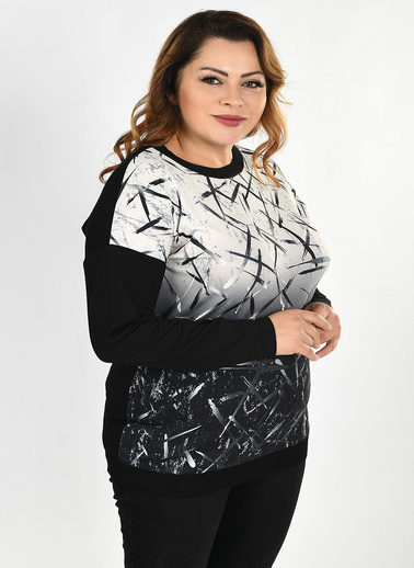Optique Knitwear Baskılı Bisiklet Yaka Uzun Kol Triko Kazak Siyah